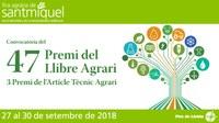 Convocats els premis del Llibre Agrari i de l'Article Tècnic 2018